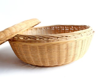 Round Basket with Fitted Lid, Storage Basket, Home Organization