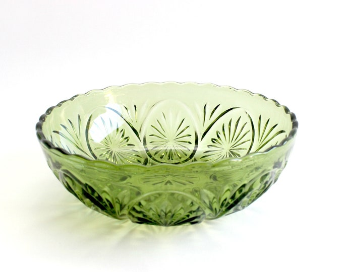 Featured listing image: Vintage Green Glass Bowl, Pressed Glass Serving Bowl, Mid Century Servingware