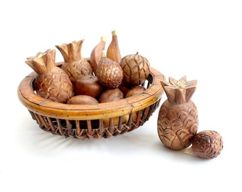 Decorative Wooden Fruit & Bowl, Hand Carved Fruit Bowl Display, Centerpiece