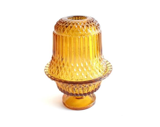 Featured listing image: Amber Glass Fairy Lamp, Tea Light Candle Holder, Vintage Home Decor