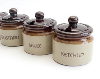 Vintage Stoneware Condiment Servers, Ceramic Sauce Dishes