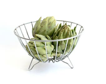 Metal Fruit Bowl, Mid Century Modern Decor, Industrial Style Centerpiece