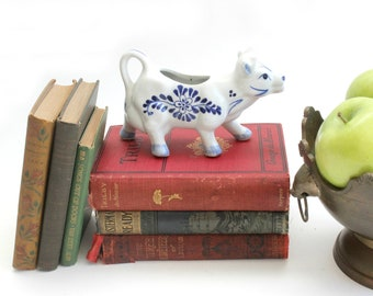 Porcelain Cow Creamer, Hand Painted Blue & White Serving Piece