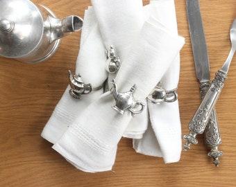 Silver Napkin Rings, Teapot Shaped Napkin Holders, Set of 4