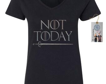 a11a01ba1547 Not Today Game Of Thrones Women s V-Neck T-Shirt - Arya Stark - Syrio -  Faceless Men - Arya List - Westeros - Jon Snow - Winterfell