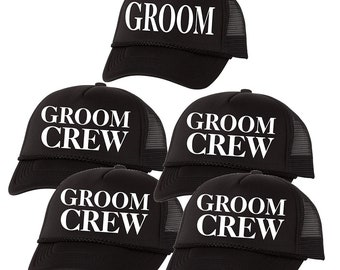 ced68fc1bb3 Groom Crew Package Trucker Hat Bachelor Party Vegas Wedding Baseball Hat Cap