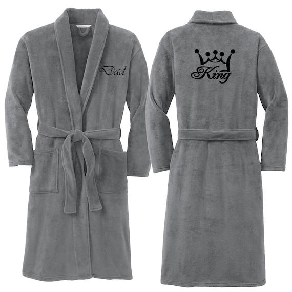 Premium Men Plush Robe King Dad Crown Embroidered King Luxurious Soft 540c67560