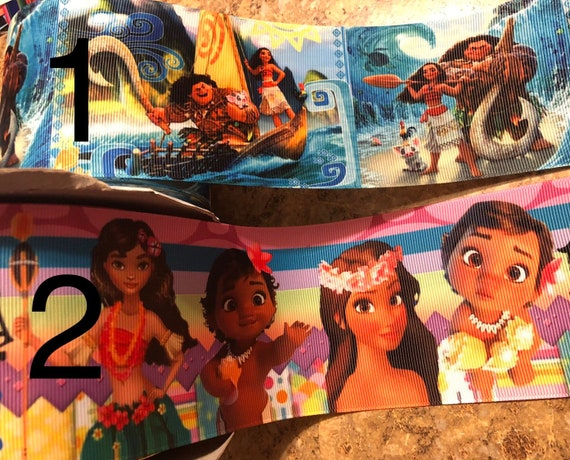 """Moana 3/"""" wide grosgrain ribbon the listing is for 2 yards"""