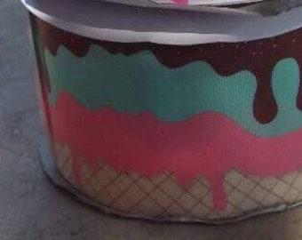 Girl Mouse & Ice cream Grosgrain Ribbon