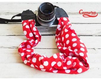 Scarf Camera Strap, Camera Strap, DSLR Camera Strap,Scarf Strap,Binocular Strap,Leather,Nylon,Nikon Strap, Canon Strap, Red and White Dots