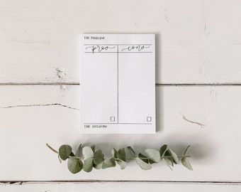Pro / Con List Notepad - Everyday Notepad - Hand Lettered Design