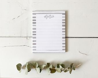 Notes Notepad - Watercolour Stripe - Everyday Notepad - Hand Lettered Design