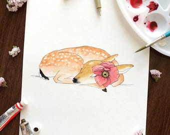 DEER with POPPY Watercolor PRINT • Fawn Doe Flower Watercolor and Ink Painting • 8x10