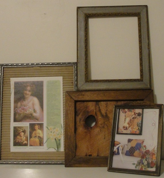 Unique Set Of 4 Antique Wooden Picture Frames Romantic And Rustic Primitive Wall Gallery Empty Glass Photo Display Wedding