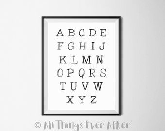 ALPHABET | Children's Print | Grey | Nursery | Playroom | Decor | Wall Art | 0014