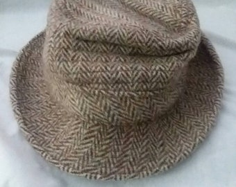 cb147ac8aac Vintage Harris Tweed hand-woven Scottish pure wool fedora bucket hat size 6  7 8 from Scotland