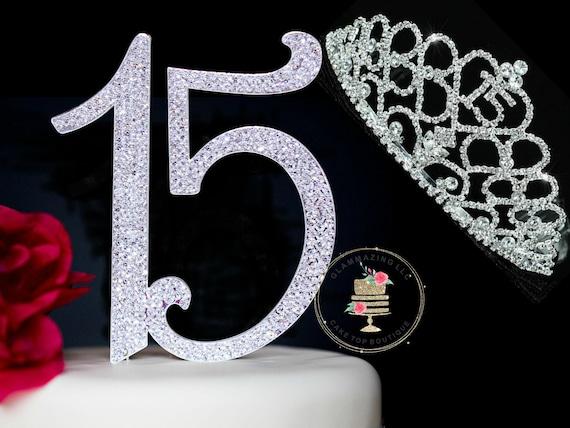 Sensational Large Quinceanera Diamante 15 Or Sweet 16 Birthday Cake Topper Etsy Funny Birthday Cards Online Unhofree Goldxyz