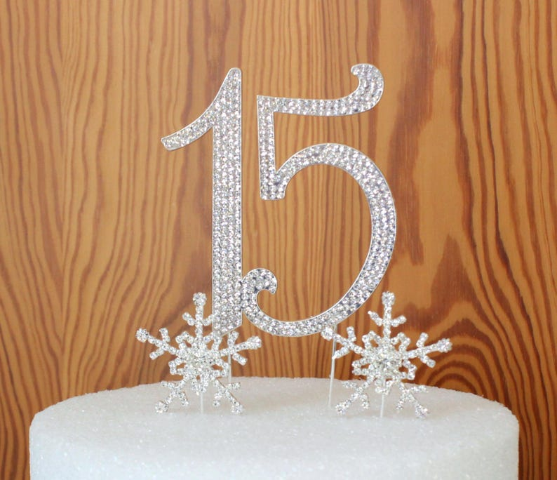 Winter Wonderland Quinceanera 15 Birthday Cake Topper In Crystal Rhinestones Number Anniversary With Snowflakes