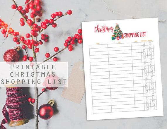 Christmas Tree Printable Christmas Shopping List Christmas Etsy