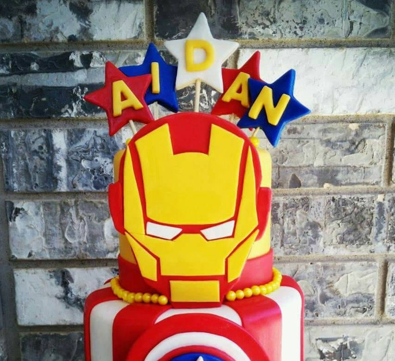 Enjoyable Ironman Birthday Fondant Cake Topper Handmade Etsy Birthday Cards Printable Trancafe Filternl