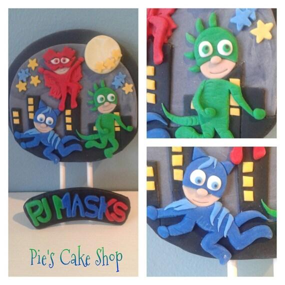 PJ Masks Birthday Fondant Cake Topper Owlette Gecko CatBoy