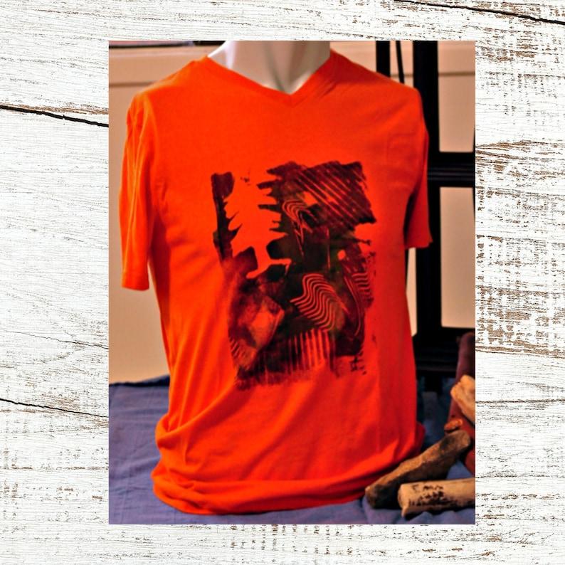 Men's Orange Gym Tee with Handprinted Design Upcycled image 0