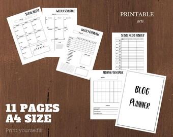 Blog Planner, social media, a4 pdf, instant download, DIY, tracker