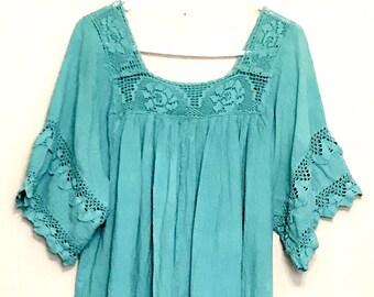 Plus Size Turquoise Cotton Macrame Dress   VG373
