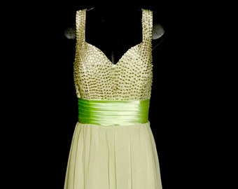 Pale Lime Green Chiffon and Sequin Gown          VG265