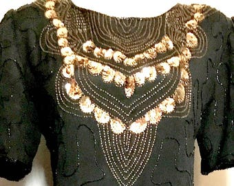 Beautiful Black and Gold Bead and Sequin Dress   VG334
