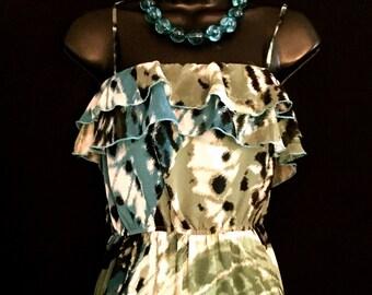 BoHo 70's Chiffon Abstract Maxi Dress             VG14