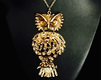 Vintage 60's Owl Movable Pendant Necklace     VG0742