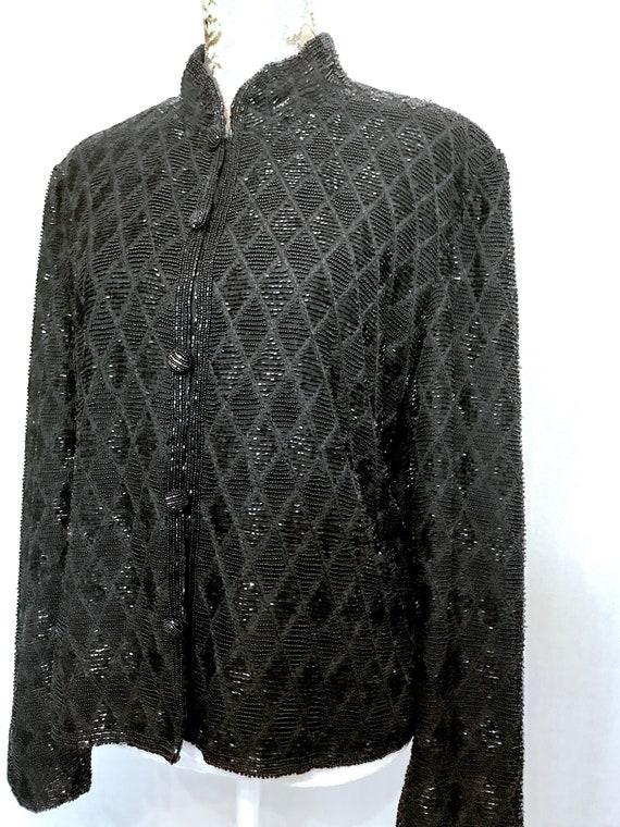 80S Jet Black Beaded Mandarin Collar Jacket