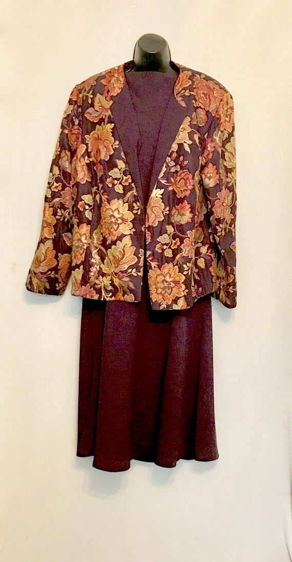 Plus Size Eggplant Dress with Brocade Jacket VG384