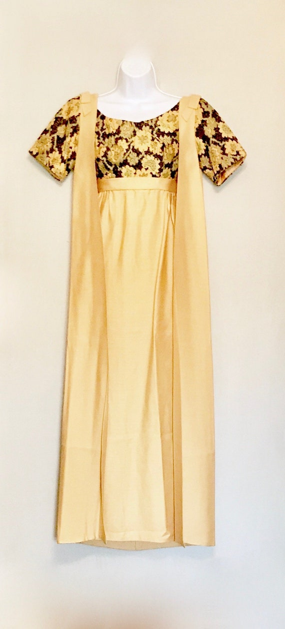 Vintage 60s Gold and Black Tapestry Gown and Cape