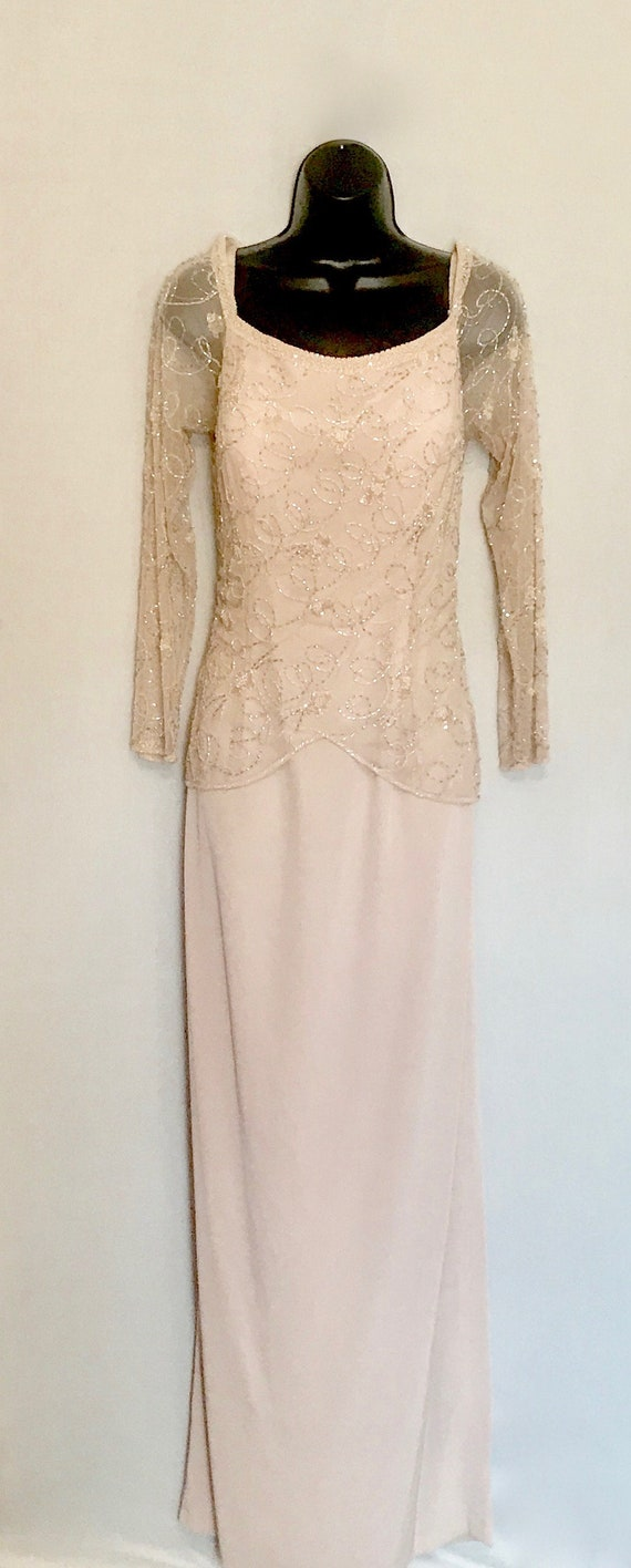 Vintage Taupe Beaded Evening Gown    VJ354