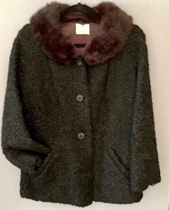 40's Curly Lamb and Mink Swing Coat     VG181
