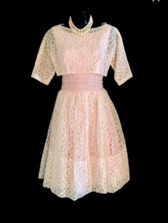 50's Pink Chiffon Cup Cake Dress with Jacket