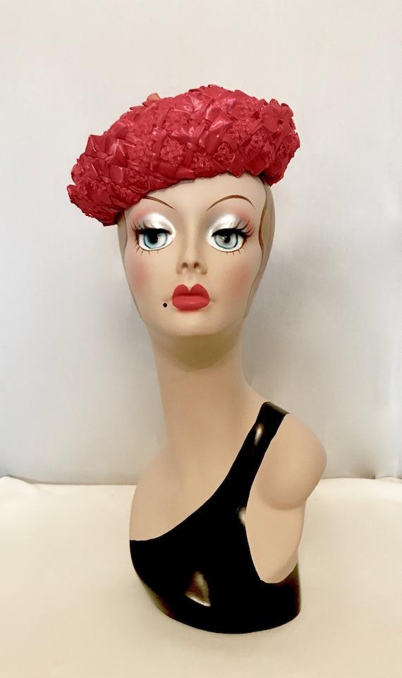 50s Ladies Red Straw Hat      4038