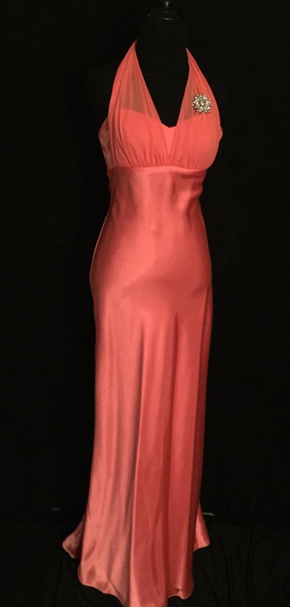 Tangerine Liquid Satin Halter Gown              VG