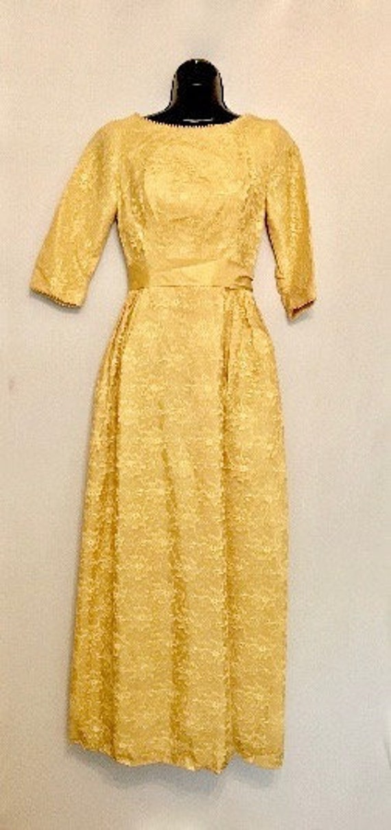 60s Mustard Lace and Satin  Gown    VG373