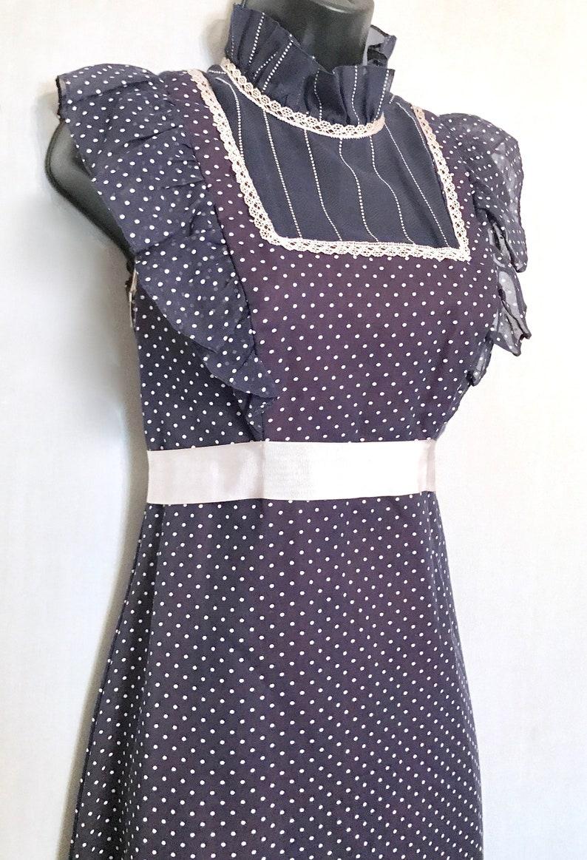 60 Vintage Boho Navy Dotted Swiss Maxi Dress     VG417