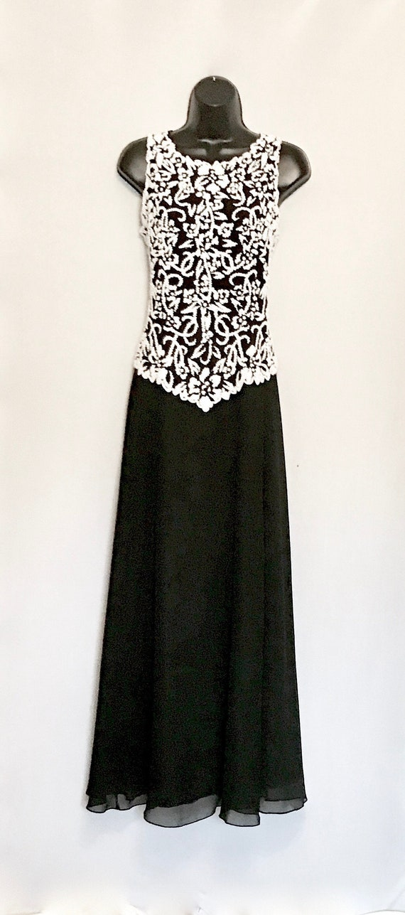 Black with White Beaded Evening Gown    VG427
