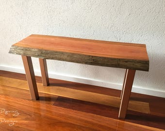 Spotted Gum and Rose Gold Metal Bench and Coffee Table