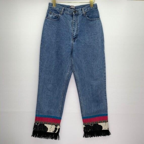 Vintage Denim 90s Mom Jeans Cow Print Fringe Hem
