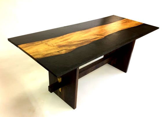 Concrete And Wood Dining Table Etsy