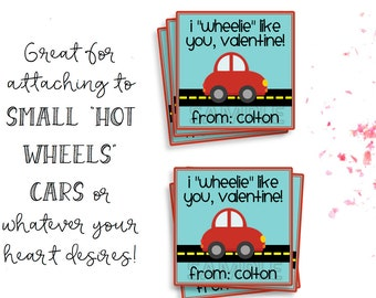Valentines Day Tags, Valentines Day Cards, Printable Valentines, Valentines Printable, Car Valentines Tag, Kid Valentines, Wheelie Like You