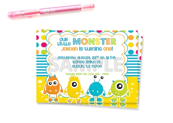 monster birthday party invitation little monster birthday etsy