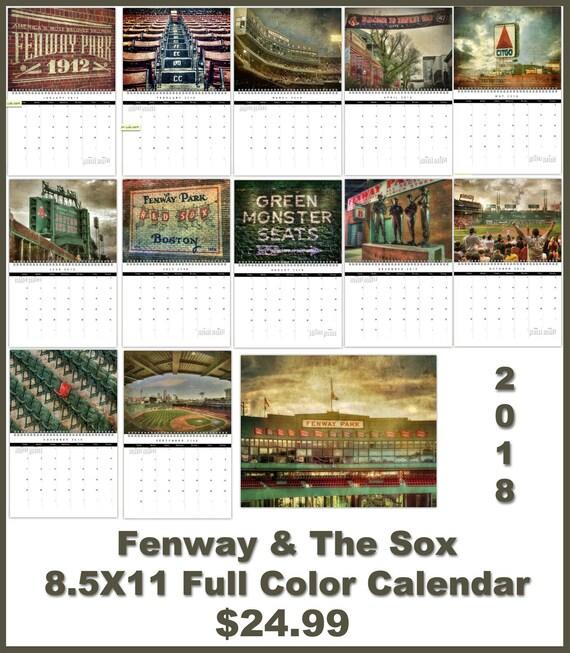 Fenway Park Red Sox Calendar Boston Red Sox Calendar Red Etsy