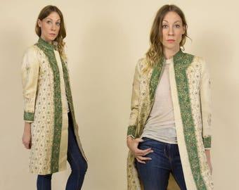 Vintage Ivory Brocade & Avocado Green, Beaded, Indian Suit Jacket / Bohemian Spring Jacket